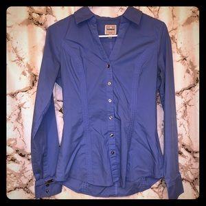 Express button down blue collared shirt